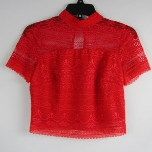 GUESS Red Adelaide Mock Neck Lace Cropped Top SM